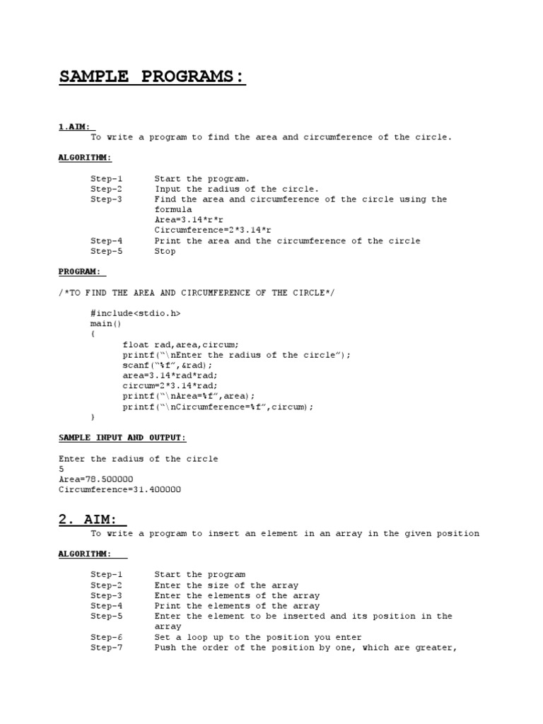 Useful Programs in C With Aim and Algorithm and Code | Software