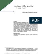HORTA, José Silvério Baia. A Educação na Itália Fascista (1922-1945)
