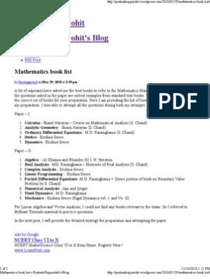 Mathematics book list « Prakash Rajpurohit's Blog