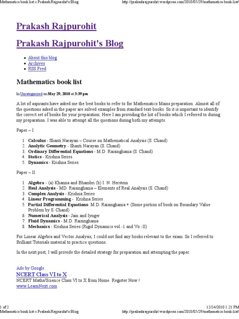Mathematics book list « Prakash Rajpurohit's Blog | Mathematical