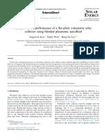Analysis-on-the-performance-of-a-flat-plate-volumetric-solar-collector-using-blended-plasmonic-nanofluid_2016_Solar-Energy