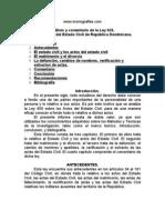 Análisis y comentario de la Ley 659, sobre actos del Estado Civil de República Dominicana