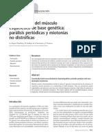 Canalopatías del músculo esquelético de base genética - parálisis periódicas y miotonías no distróficas
