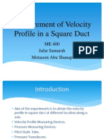 Measurment of velocity profile in square duct