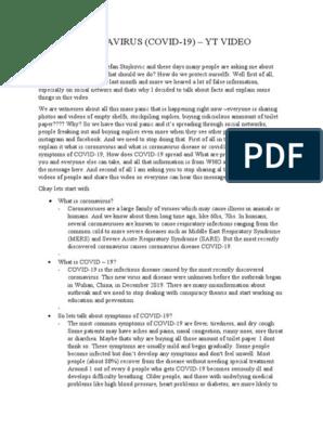 Coronavirus Covid 19 Yt Video Script Diseases And Disorders Medical Specialties