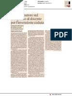 Diritto d'autore sul compenso al docente per l'invenzione ceduta - Il Sole24ore del 29 aprile 2020