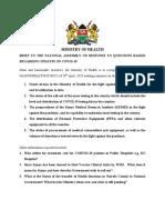National Assembly Responses (28th April, 2020) Virtual Meeting at 2.17 Pm-final