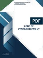 CODE DE L'ENREGISTREMENT 2020