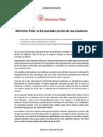 Alimentos Polar  no acordó precios_COMUNICADO_29042020