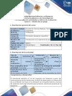 Guía de actividades y rúbrica de evaluación Tarea 5 - Diseño de un juego