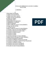 LEGENDA DA INSTALAÇÃO HIDRÁULICA DA ESCAVADEIRA E215LC-ME