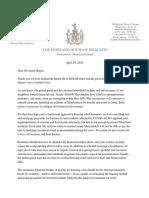 House Legislators' Housing Relief Letter to Governor Hogan