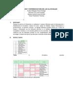 Identificación y diferenciación de Alcoholes
