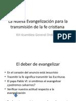 La Nueva Evangelización para la transmisión de la