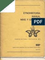 Etnohistoria nahua, mixe y chontal.