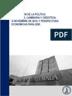 Evaluación de la Política Monetaria, Cambiaria y Crediticia, a Noviembre de 2019 y Perspectiva Económicas para 2020