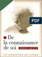 Jiddu Krishnamurti - De La Connaissance De Soi- Jericho
