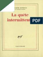 Eugene Ionesco - La quete Intermittente- Jericho