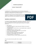 """Actividad de aprendizaje 12 Evidencia 3 Ejercicio práctico """"Costeo de la DFI""""       LT"""