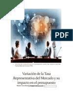 Evidencia 4 Variación de la tasa representativa del mercado y su impacto en el presupuesto