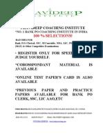 IBPS CWE Exame for Bank PO Clerk ,SSC,SI,UPSC, Gov Job,TGT,PGT,CTET Coaching Noida-Pravideep Coaching