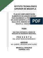 Plan de Complementación Alimenticio en Ganado Bovino Para Maximizar La Producción de Leche Durante La Temporada Baja