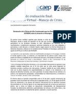 Propuesta de evaluación final Diplomado Manejo de Crisis
