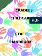 chickadees childcare staff handbook