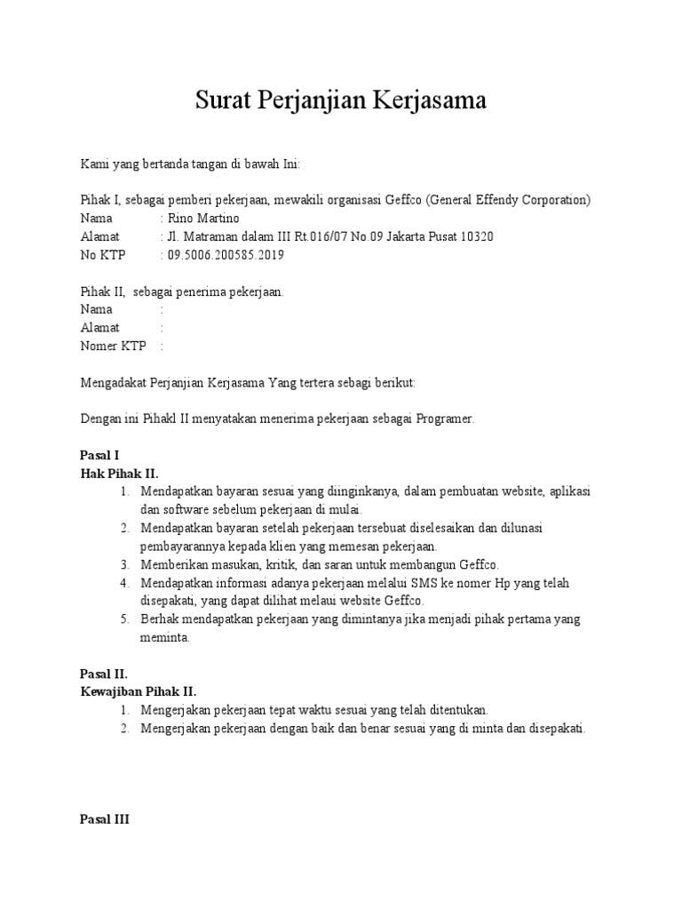 Surat Perjanjian Kerjasama Programer