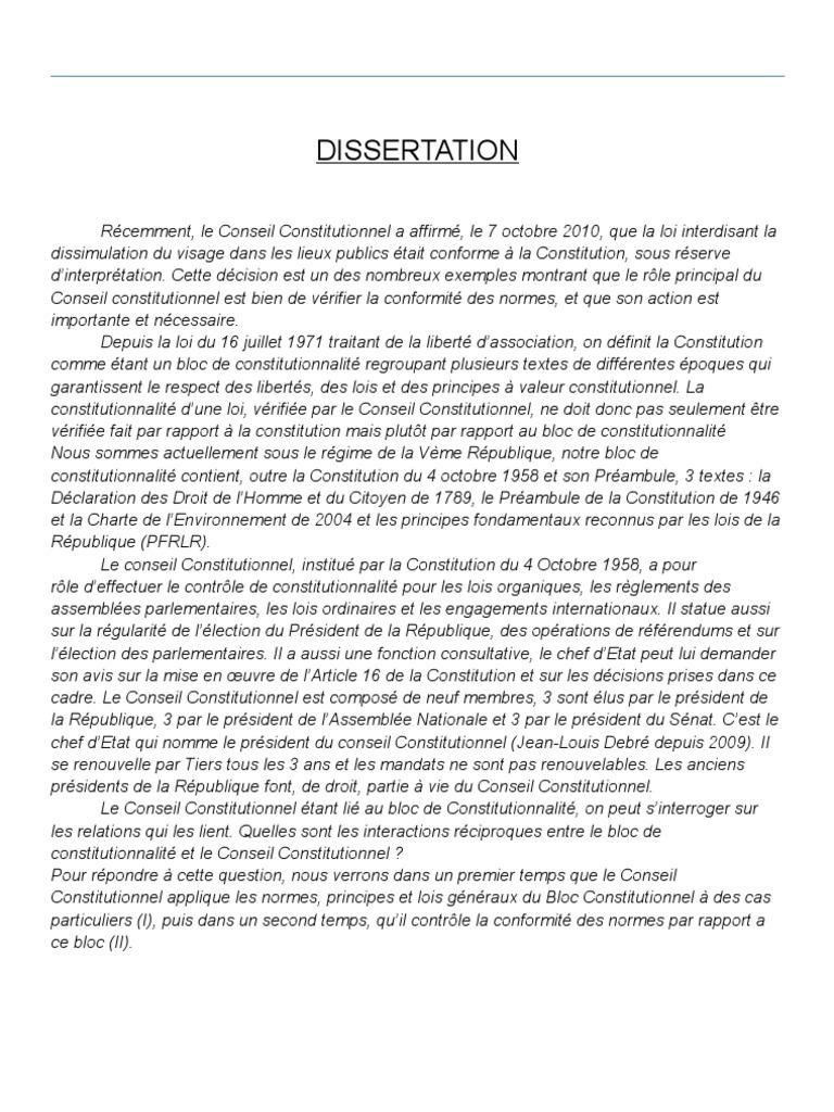 Dissertation conseil constitutionnel loi