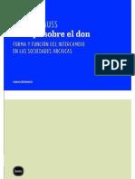 Mauss, M. Ensayo Sobre El Don (Estudio Preliminar