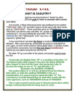 """YAHUAH and """"CASUITRY"""""""