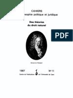 0 Collectif - Des théories du droit naturel 1987