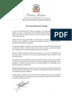 Mensaje del presidente Danilo Medina con motivo del Día Internacional del Trabajo 2020