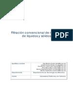 Filtración convencional de mezclas de líquidos y sólidos