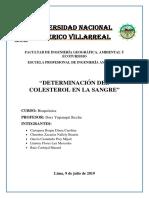 DETERMINACION DE COLESTEROL EN SANGRE