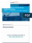 Introduction to Governance, Politics & Policy, Week 4