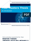 Introduction to the Masters Thesis - MPP Cohort September 2010