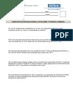 EXERCICIO DE FIXAÇÃO 05 - 2 LEI DE OHM  POTENCIA E ENREGIA