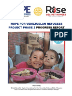 Hope For Venezuelan Refugees Phase 2 Progress Report