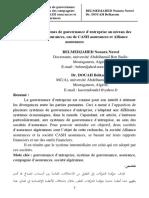Approche Des Systèmes de Gouvernance d'Entreprise Au Niveau Des Compagnies d'Assurances -Cas de CASH Assurances Et Alliance Assurances