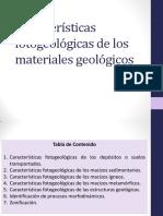 Características fotogeológicas de los materiales geológicos