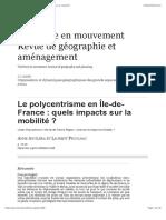 Le polycentrisme en Île-de-France