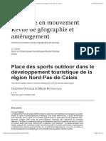Place des sports outdoor dans le développement touristique de la région Nord-Pas-de-Calais