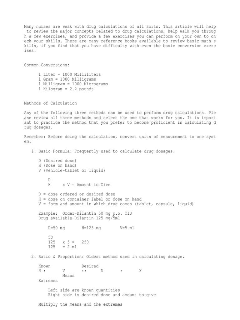 Drug calculations dose biochemistry kilogram nvjuhfo Images