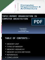 PRESENTATION ON MEMORY ORGANIZATION IN COMPUTER ARCHITECTURE