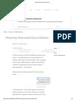 Mantras that need Guru Diksha