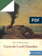 Carta de Lord Chandos - Hugo von Hofmannsthal