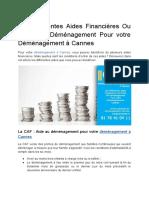 Les Différentes Aides Financières Ou Prime de Déménagement.