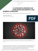 Quanto tempo o coronavírus sobrevive nas superfícies_ Estudo aponta que plástico e aço ampliam a sobrevida _ Coronavírus _ G1